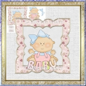 Baby girl 7x7 card with decoupage