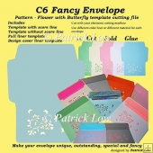C6 Fancy Envelope – Pattern – Flower with Butterfly template