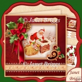 Christmas Holly Ribbon With Santa 7.8 Decoupage Kit