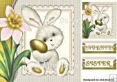 Cute Bunny with easter egg with gold flower 8x8