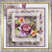 Pink rose and berry 7x7 card with decoupage
