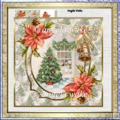 Christmas tree 7x7 card with decoupage