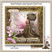 Gold Parasol Lady Square Card Front