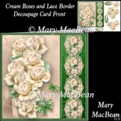 Cream Roses and Lace Border Decoupage Card Front