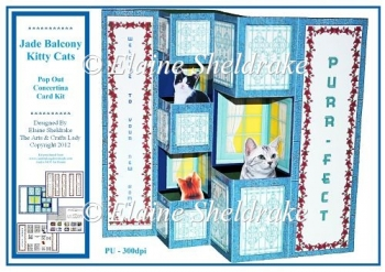 Jade Balcony Kitty Cats - Pop Out Concertina Card Kit