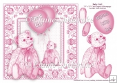 Baby Girl - 7.5 x 7.5 Card Topper With Decoupage