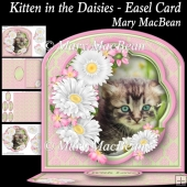 Kitten in the Daisies Easel Card