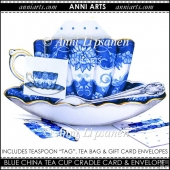 Blue Tea Cup Cradle Card, Envelopes and Tags