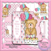 Chubby Cubby Birthday Bear 1 Shaped Card