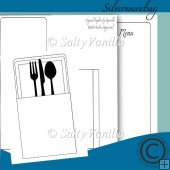 Silverware bag with menu card inlay
