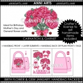 Birth Flowers and Gems January: Handbag Packet