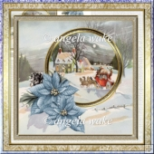 Coach and horse 7x7 card with blue poinsettias