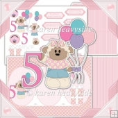Birthday Girl Age 5 Cameo Tri Shutter Card Kit