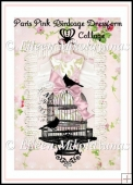 Paris Pink Birdcage Dressform Collage for Cards, Journals, Craft