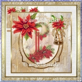 Christmas candles 7x7 card with decoupage