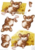 Too Much Cheese Mouse Decoupage Sheet