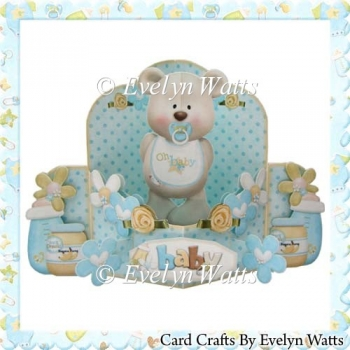 Baby Boy Bear Push n Pull Card Kit