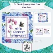 Blue Roses 7 x 7 Inch Sympathy Card Front