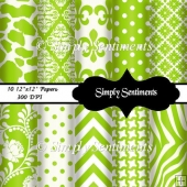 "10 12""x12"" Lime & White Digital Papers"