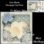 Love Hearts Decoupage Card Front