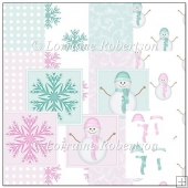 Blue and Pink Pastel Snowmen
