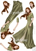 Lady Guinevere Decoupage Sheet (Green)