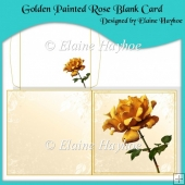 Golden Painted Rose Blank Card