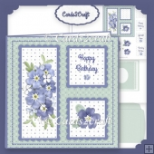 Small square blue flowers card set