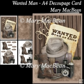 Wanted Man - A4 Decoupage Card
