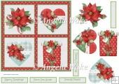 Red poinsettia 7x7 card