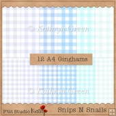 Snips N Snails - 12 Size A4 Gingham Papers