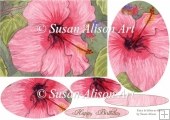 fairy birthday card, hibiscus flower & fairy,