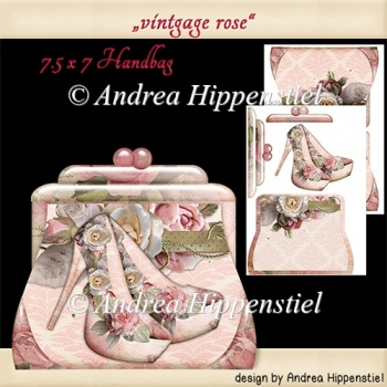 Handbag Shape Card vintage rose