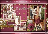Art Deco Lady Lily Christmas 4 Sheet mini Kit Dark Pink