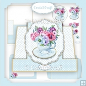 Pop up in the middle tea cup and flower card set