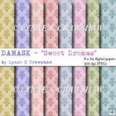 DAMASK - Sweet Dreams 8 x A4 high quality printable papers