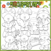Everyday Bunnies Commercial Use Digital Stamps