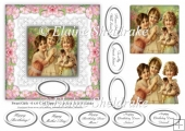 Sweet Girls - 6 x 6 Vintage Card Topper With Decoupage & Tags