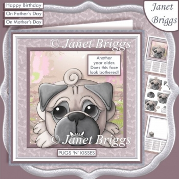 PUGS N KISSES 7.5 Humorous Decoupage & Insert Mini Kit