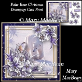 Polar Bear Christmas Decoupage Card Front
