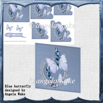 Blue butterfly card with scalloped corner
