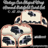 Vintage Car Shaped Wrap Around Gatefold Card