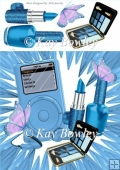 Blue MP3 Player with butterflies & ladies Access 8x8
