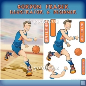 Basketball Dude Orange and Blue with Insert Kit
