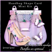 A Day Out Handbag Shoe Shape Card purple