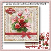 Vintage Snowdrops In Lace Frame Card Front