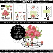Birth Flowers and Gems August: BW Tea Cup Cradle Card Set