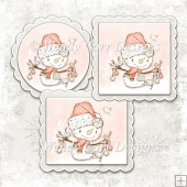 READY TO PRINT TOPPERS VARIETY - SIMPLY SNOWMEN - PINK