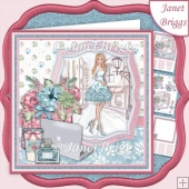 MODERN GIRL Powder Blue 7.5 Decoupage & Insert Mini Kit