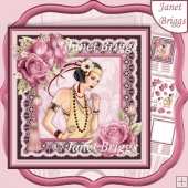 ART DECO LADY IN PINK & GOLD 7.5 Decoupage & Insert Kit
